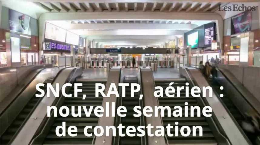 Illustration pour la vidéo SNCF, RATP, aérien : nouvelle semaine de contestation dans les transports