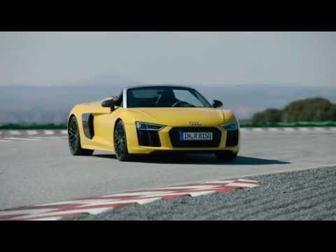 Audi R8 Spyder Exterior Design in Yellow Trailer | AutoMotoTV