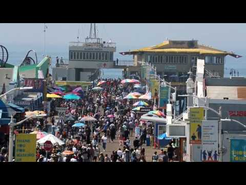 Crowds pack Santa Monica's coastal areas for US Labor Day Weekend