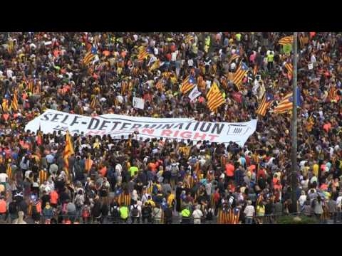 Pro-independence protesters demonstrate in Barcelona