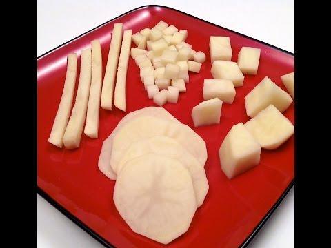 Comment couper une pomme de terre en frites d s cubes et tranches hd sur orange vid os - Comment couper des plinthes en biais ...