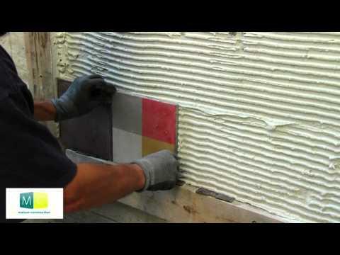 Pose carrelage carreau ciment mosa que murale sur orange for Pose carrelage double encollage