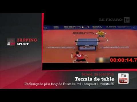 Zap 39 Sport Le Point Le Plus Long De L 39 Histoire En Tennis De Table En Vid Os Sur
