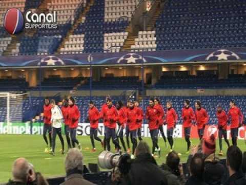 L'entrainement du PSG à Stamford Bridge
