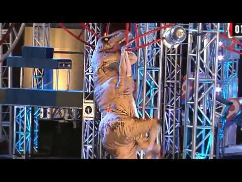Tyrannosaurus Rex Hilariously Competes in American Ninja Warrior