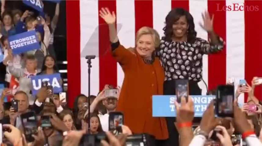 Illustration pour la vidéo Michelle Obama et Hillary Clinton s'affichent unies contre Donald Trump