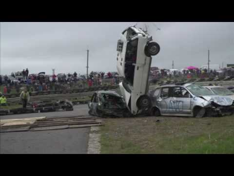 Daring drivers take to the skies in car jumping contest