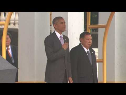 Obama attends arrival ceremony in Laos