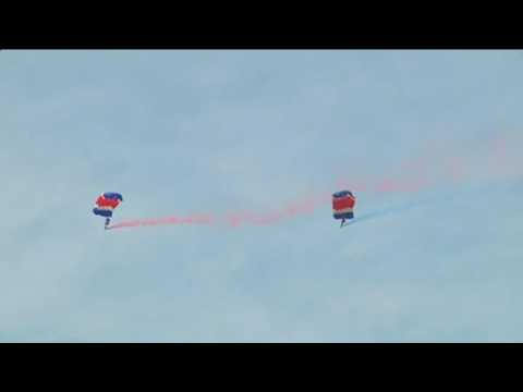 Planes, skydivers perform at North Korea air show