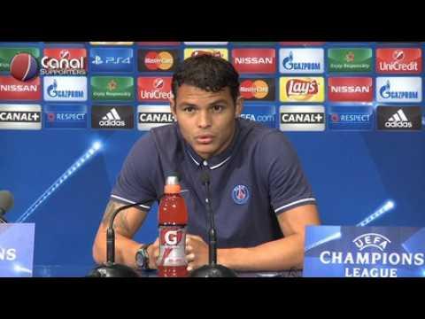 PSG / Real - La confe?rence de presse de Thiago Silva