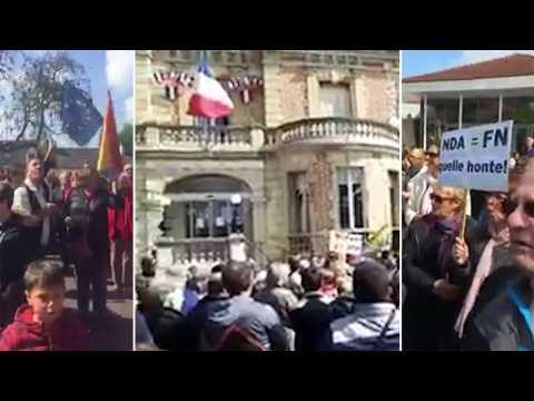 Les habitants de Yerres manifestent après le ralliement de Dupont-Aignan à Le Pen