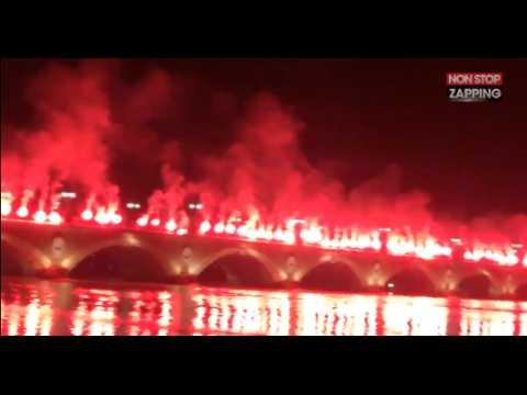 Des ultras des Girondins de Bordeaux enflamment le pont de pierre (vidéo)
