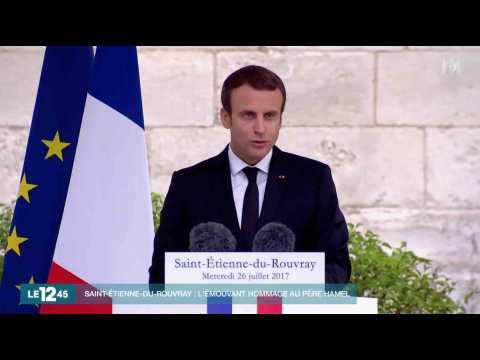 Emmanuel Macron rend hommage au Père Hamel - ZAPPING ACTU DU 26/07/2017