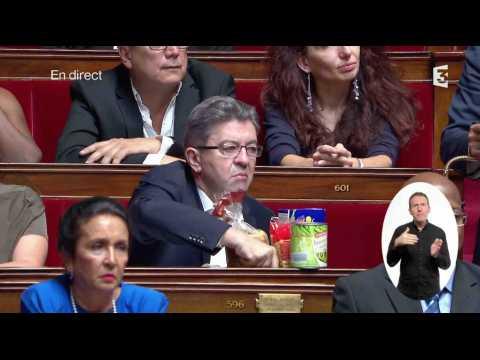 Jean-Luc Mélenchon vide son sac de courses à l'Assemblée - ZAPPING ACTU DU 27/07/2017