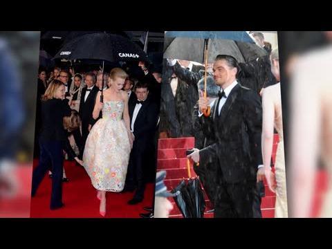 Nicole Kidman et Leonardo DiCaprio sous la pluie au Festival du Film de Cannes