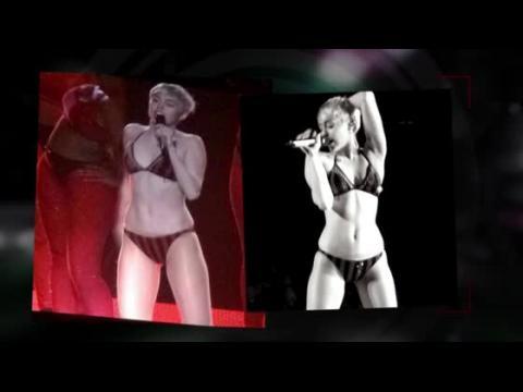 Miley Cyrus monte sur scène en sous-vêtements