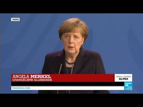 """CRASH Airbus A320 - Angela Merkel : """"Épouvantable"""", """"nous sommes tous en deuil"""" - Germanwings"""