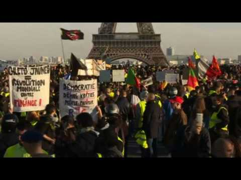 """""""Yellow vest"""" protesters gather near Eiffel Tower in Paris"""