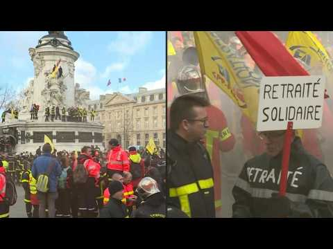 French firemen protest in Paris against pension reform