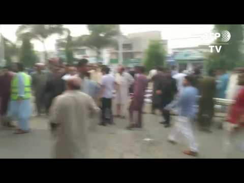 Injured people arrive at Pakistan hospital following 5.8 earthquake