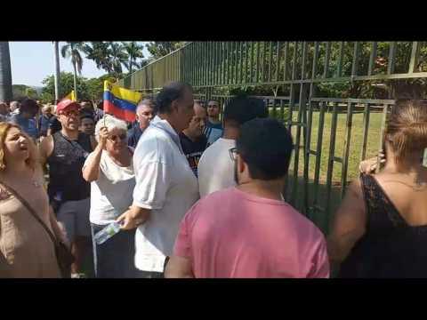 Protesters gather outside Venezuelan embassy in Brazil