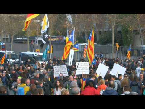 Pro-independence protesters gather in front of Camp Nou ahead of Clasico in Barcelona