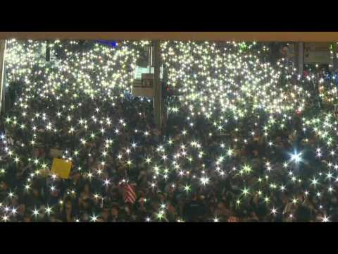 Hong Kong protesters create dazzling light show with phones