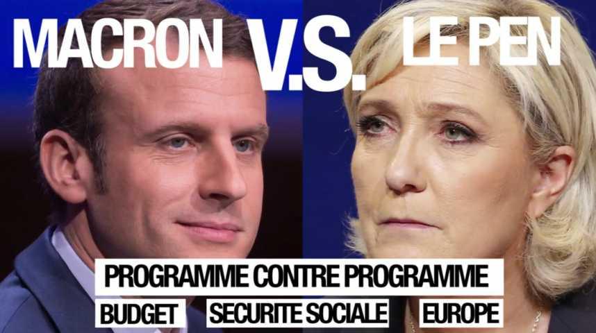 Illustration pour la vidéo Macron vs Le Pen : programme contre programme