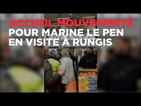 Huées et jet de tomate : accueil mouvementé pour Marine Le Pen à Rungis