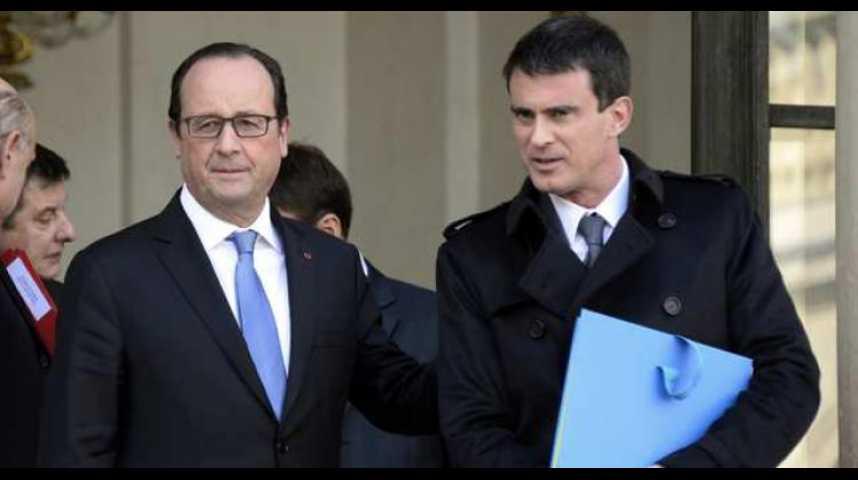 Illustration pour la vidéo Hollande et Valls bénéficient d'une légère embellie de cote de confiance