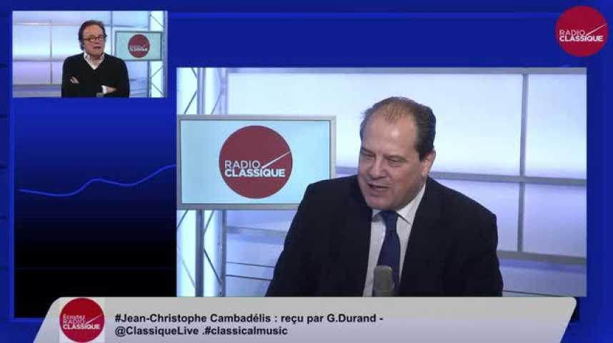 Illustration pour la vidéo Jean-Christophe Cambadélis, « Les Français voudraient Juppé ? L'arrière-grand-père, qui est là depuis 1974 ? Ce cheval de retour serait la modernité incarnée ? »