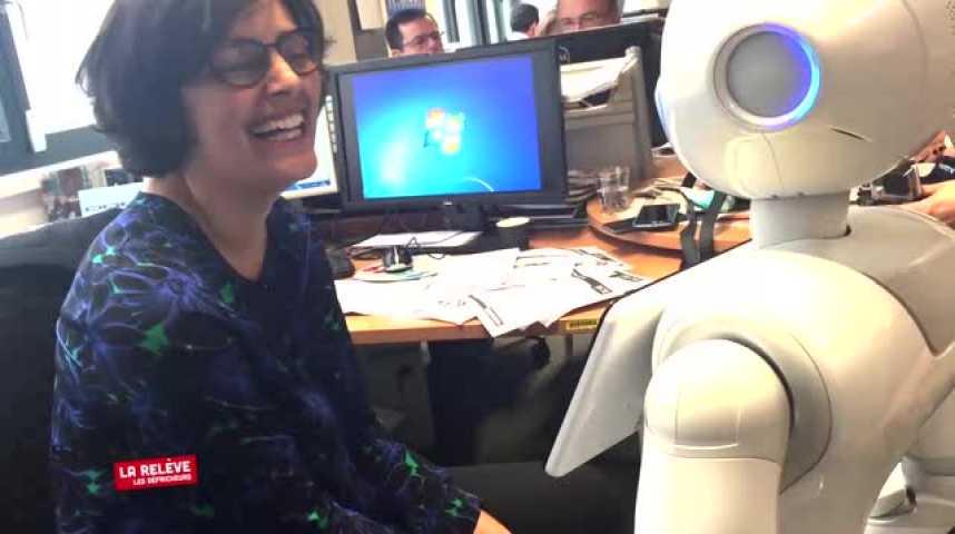 Illustration pour la vidéo La Relève : quand la ministre du Travail dialogue avec un robot...