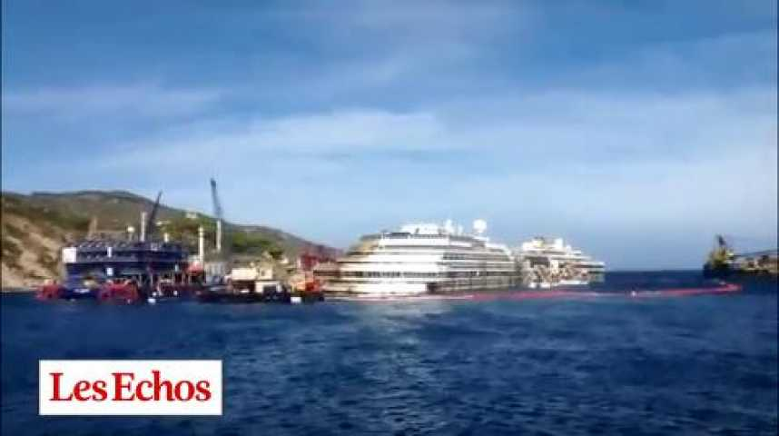 """Illustration pour la vidéo """"Costa Concordia"""" : l'épave remise à flot"""