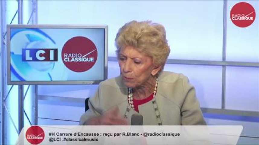 Illustration pour la vidéo Hélène Carrère d'Encausse, «Si on ne travaille pas avec Poutine, il remportera seul les lauriers de la victoire  »
