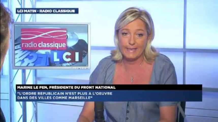 """Illustration pour la vidéo Marine Le Pen : """"Valls est dans l'incapacité totale de ramener la sécurité"""""""
