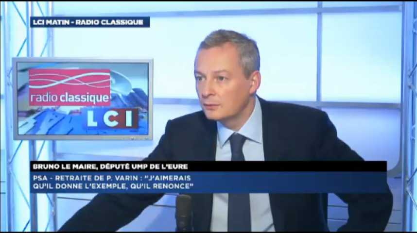 """Illustration pour la vidéo Bruno Le Maire s'indigne de la retraite à 21 millions de Philippe Varin: """"Je suis choqué. Il aurait dû donner l'exemple. Qu'il renonce!"""""""