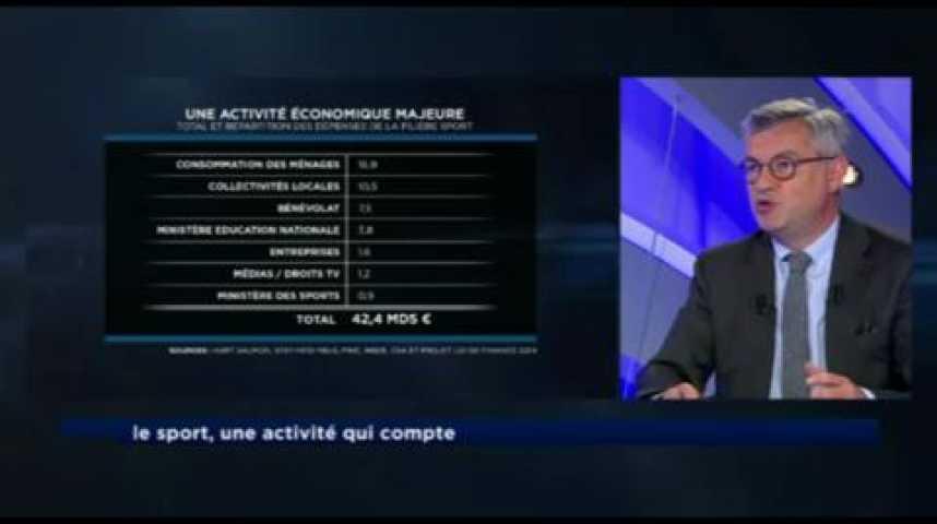 Illustration pour la vidéo Le sport, un vrai secteur économique qui rapporte 8 milliards d'euros chaque année à l'Etat