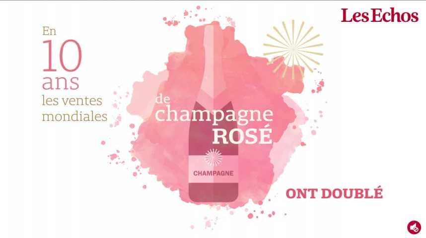 Illustration pour la vidéo Hips ! En dix ans, les ventes de champagne rosé ont doublé