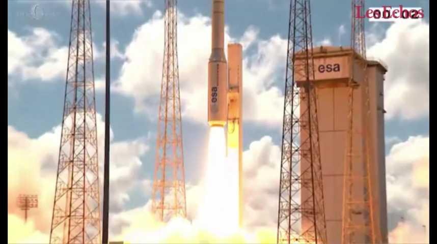 Illustration pour la vidéo Arianespace réussit le 8e lancement de la fusée Vega