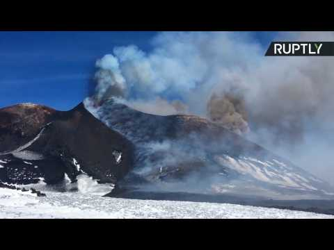 Watch as Mount Etna Continues to Spit Ash and Smoke