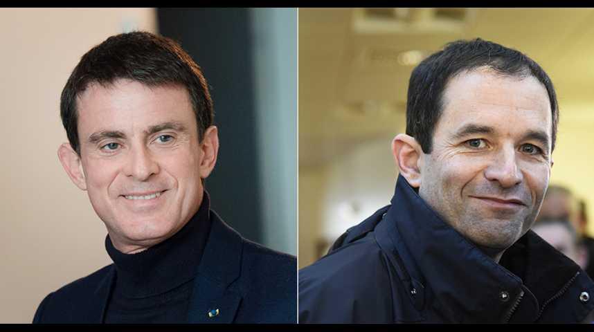 Illustration pour la vidéo Primaire à gauche : Hamon crée la surprise, Valls le suit et Montebourg sort de la course