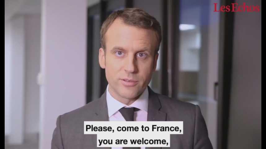 Illustration pour la vidéo Sur Twitter, Emmanuel Macron envoie un message aux entrepreneurs américains