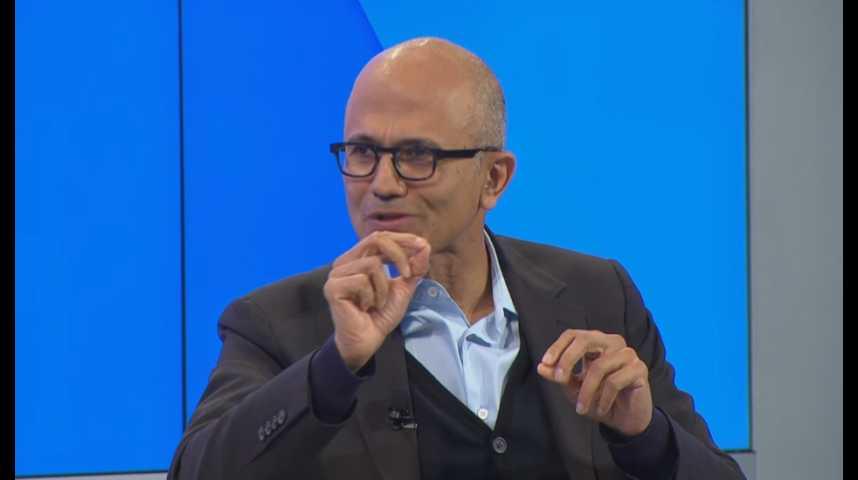 Illustration pour la vidéo Davos 2017 : les enjeux de l'intelligence artificielle (avec la participation de Satya Nadella, CEO de Microsoft)