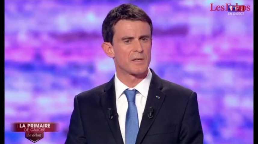 Illustration pour la vidéo Débat de la primaire : Valls joue l'expérience, Montebourg insiste sur sa gauche