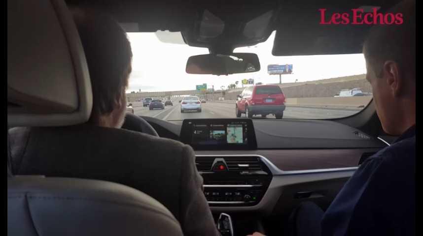 Illustration pour la vidéo CES 2017 : à bord d'une BMW en mode autonome sur les routes de Las Vegas