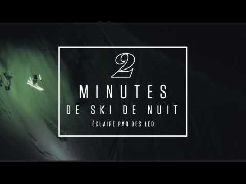 2 minutes de ski nocturne éclairé aux LED : magique