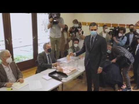 Spanish PM votes in Madrid regional elections
