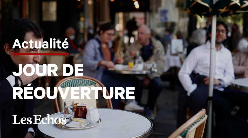 Illustration pour la vidéo Jour J pour la réouverture des terrasses, des commerces et des lieux de culture