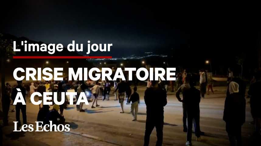 Illustration pour la vidéo Refoulés par l'Espagne à leur arrivée à Ceuta, les migrants font face à la police marocaine