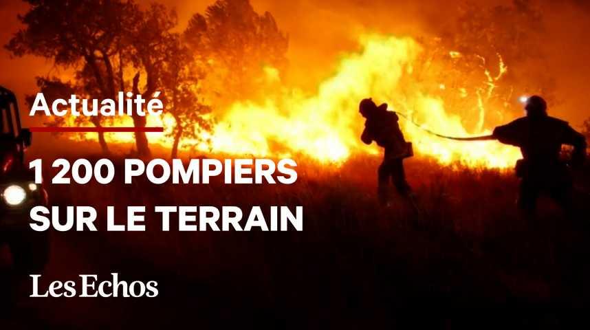 Illustration pour la vidéo Dans le Var, 1 200 pompiers luttent contre le feu
